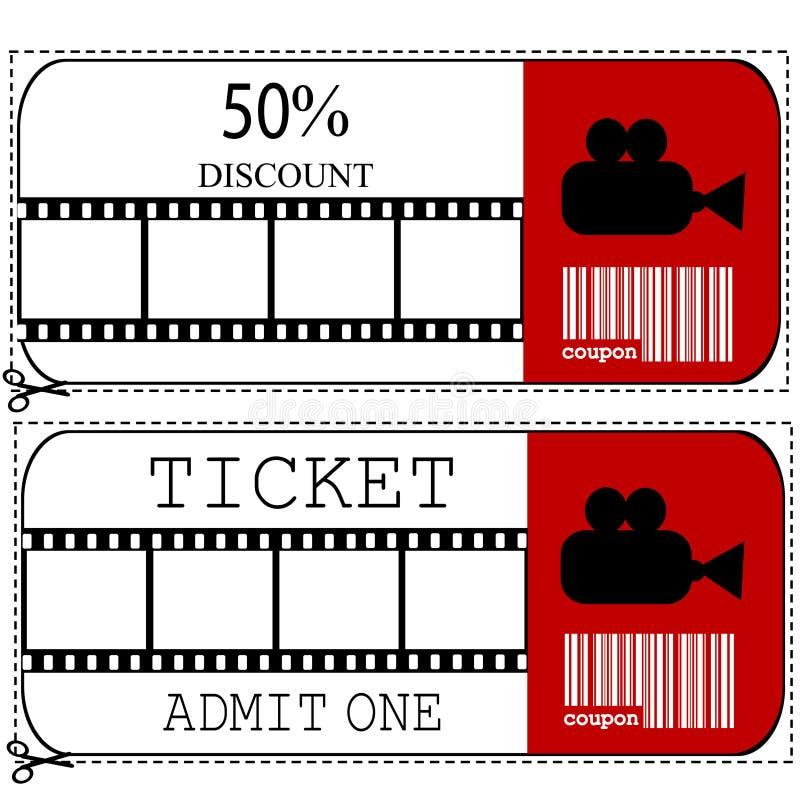 kupong för jobbanvisning för försäljning för bioingångsfilm royaltyfri illustrationer