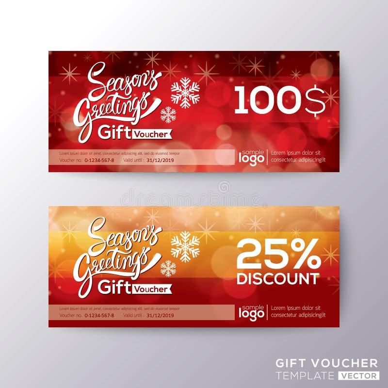 Kupong för kupong för presentkort för säsonghälsningferie stock illustrationer