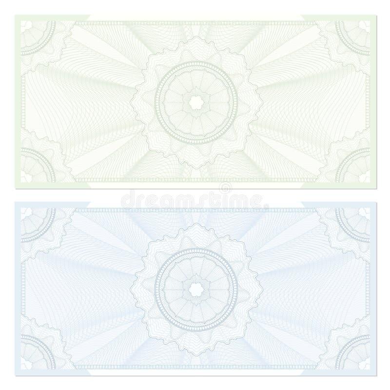 Kupong/kupong. Guilloche mönstrar stock illustrationer