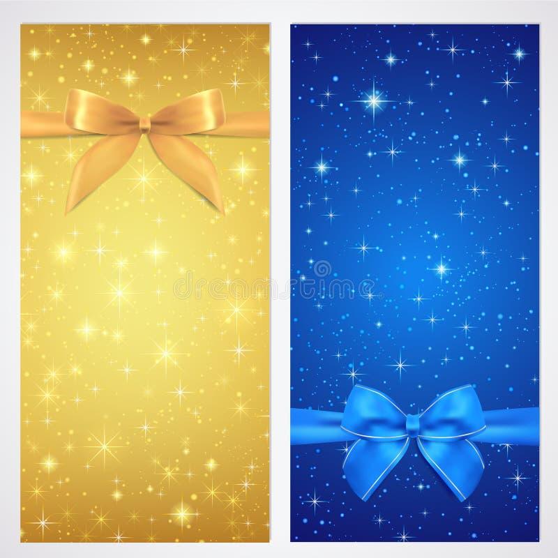 Kupong kupong, presentkort, gåvakort. Stjärna stock illustrationer