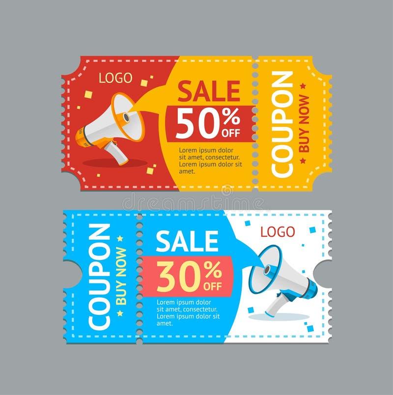 Kupongförsäljning vektor royaltyfri illustrationer