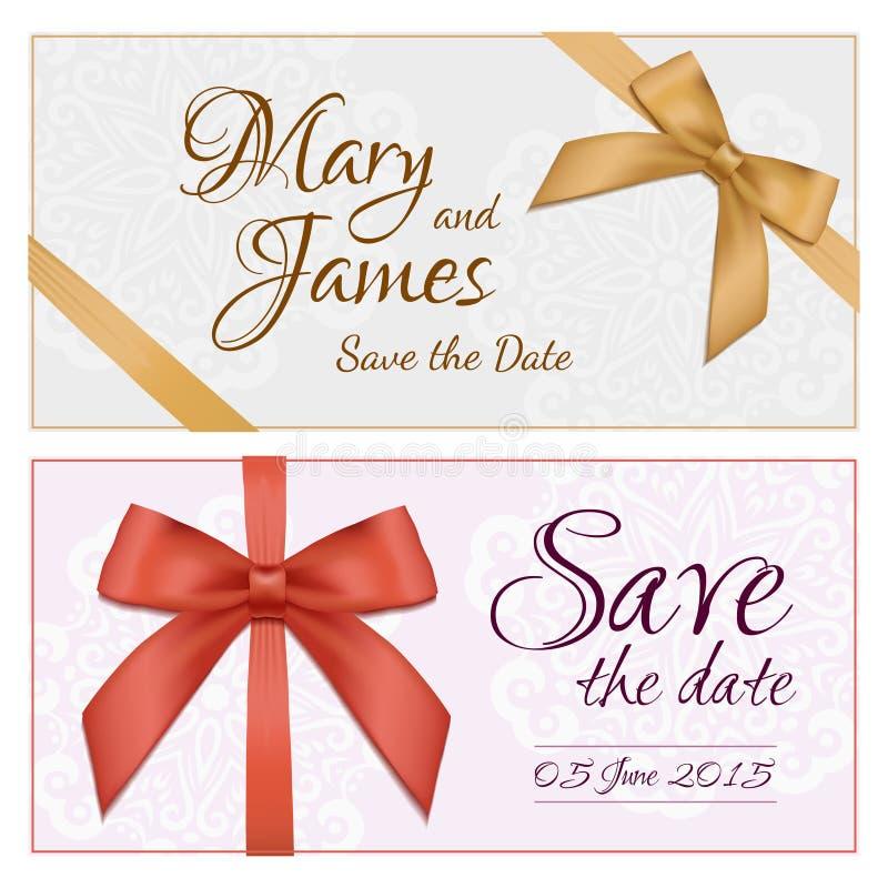 Kupongmall med den blom- modellen, gräns, röd och guld- pilbåge och band Planlägg användbart för gåvakupongen, kupongen, inbjudan royaltyfri illustrationer