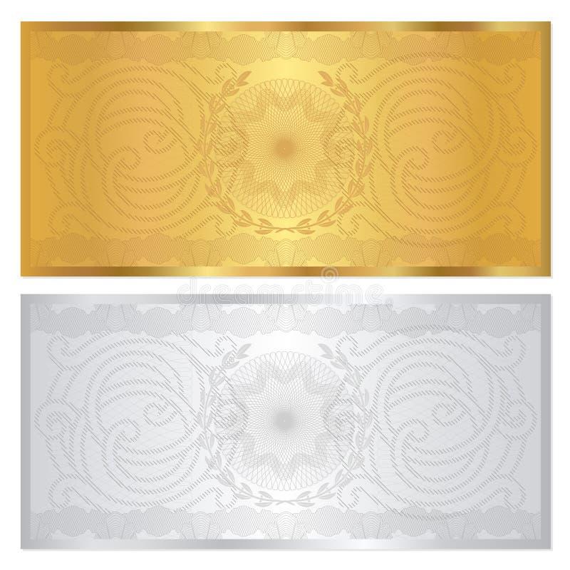Försilvra/den guld- kupongmallen. Guilloche mönstrar vektor illustrationer