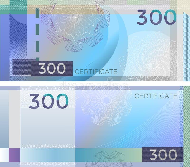 Kupongmallsedel 300 med den guillochemodellvattenstämplar och gränsen Blå bakgrundssedel, presentkort, kupong, vektor illustrationer