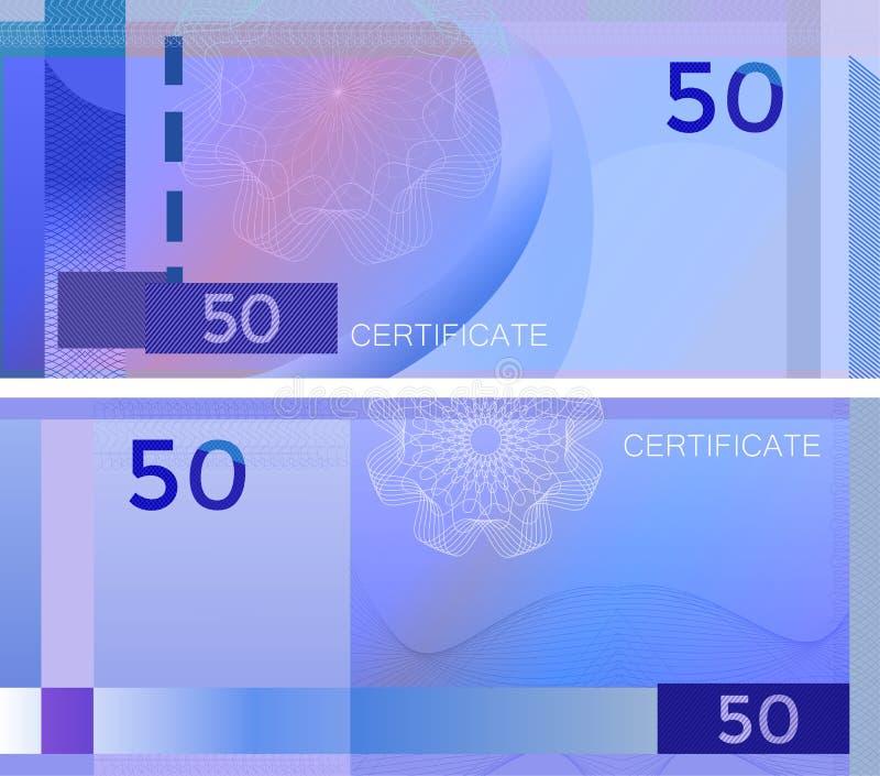 Kupongmallsedel 50 med den guillochemodellvattenstämplar och gränsen Blå bakgrundssedel, presentkort, kupong, diplom royaltyfri illustrationer