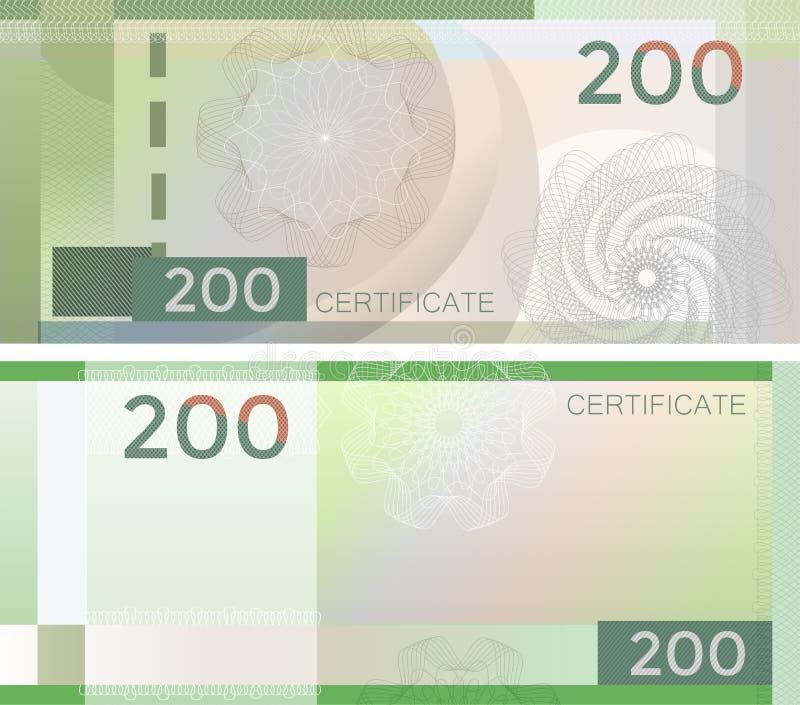 Kupongmallsedel 200 med den guillochemodellvattenstämplar och gränsen Grön bakgrundssedel, presentkort, kupong, vektor illustrationer