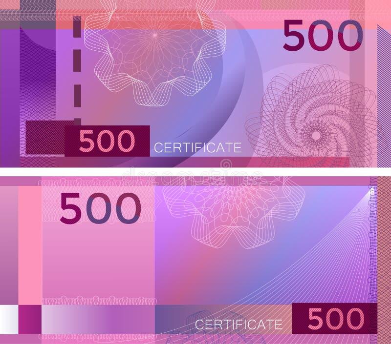 Kupongmallsedel 500 med den guillochemodellvattenstämplar och gränsen Purpurfärgad bakgrundssedel, presentkort, kupong, royaltyfri illustrationer