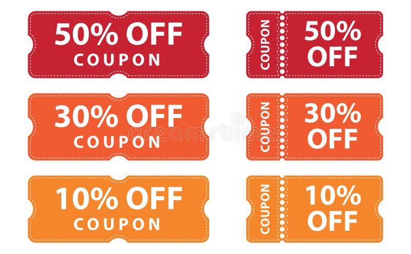 Kupongrabattbaner 50%, 30% och 10% av erbjudanden stock illustrationer