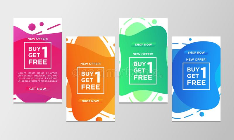 Kupongrabattköp ett får en fri försäljningsbaneruppsättning Färgrikt specialt erbjudande för modern vätskedesignmall Kan använda  stock illustrationer
