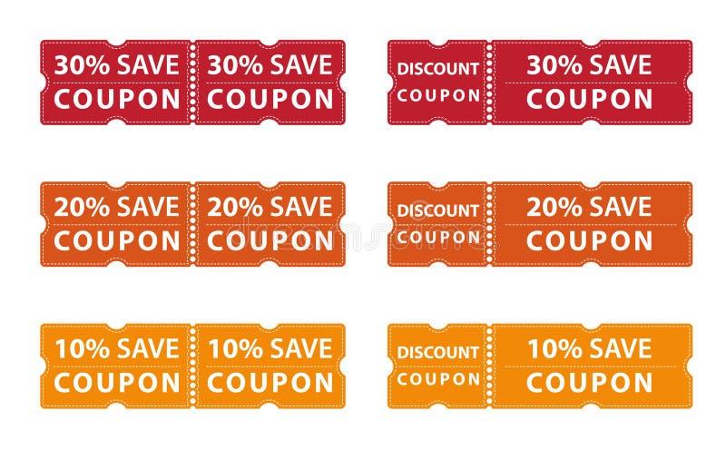 Kuponrabatt-Angebotabwehr bis 30%, 20% und 10% lizenzfreie abbildung