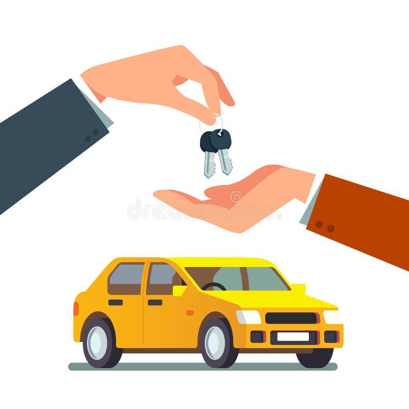 Kupować nowego lub używać rodzinnego sedanu samochód ilustracja wektor