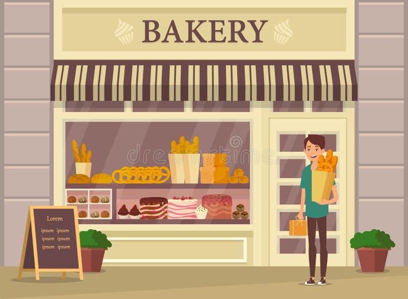 Kupujący z baguette blisko piekarnia sklepu, sklep ilustracji