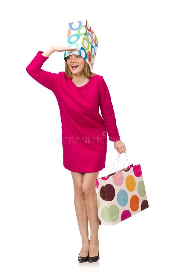 Kupujący dziewczyna w menchiach ubiera mienie plastikowych worki odizolowywających na whit zdjęcie stock