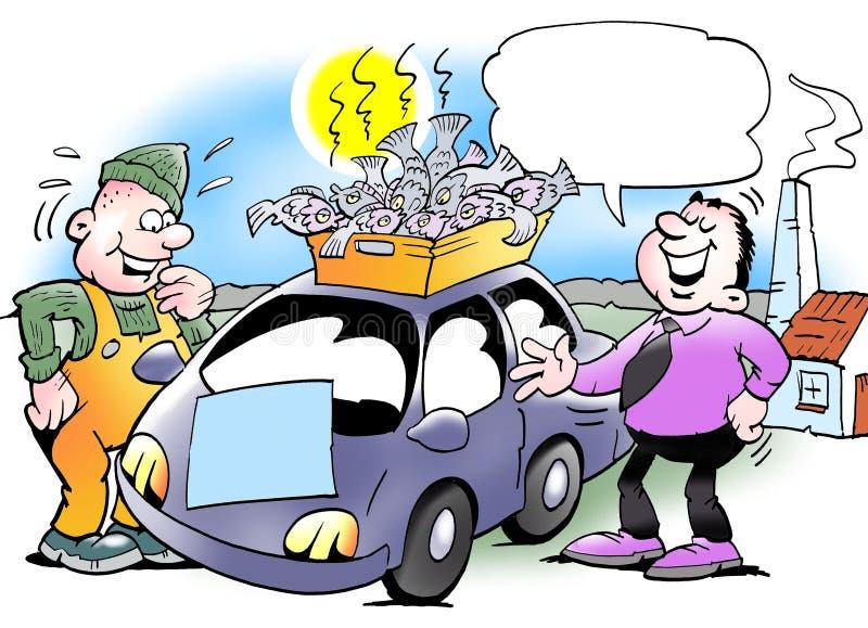 Kupuje samochód i dostaje pudełko ryba w tranzakcja royalty ilustracja