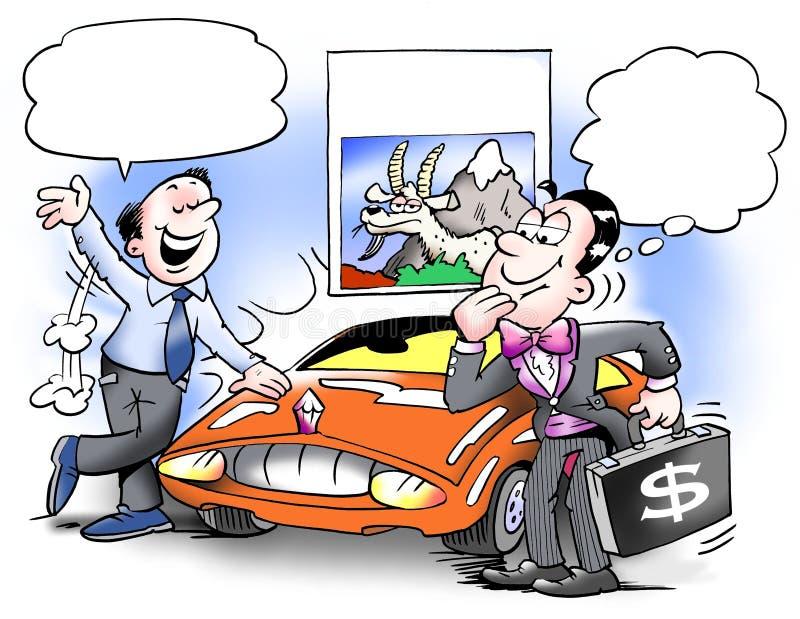 Kupuje samochód i wspiera halnej kózki ilustracja wektor