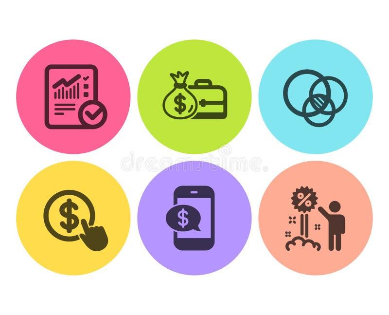 Kupuje walutę, pensję i Sprawdzać kalkulacyjne ikony ustawiających, Euler diagram, telefon zapłata i rabatów znaki, wektor royalty ilustracja