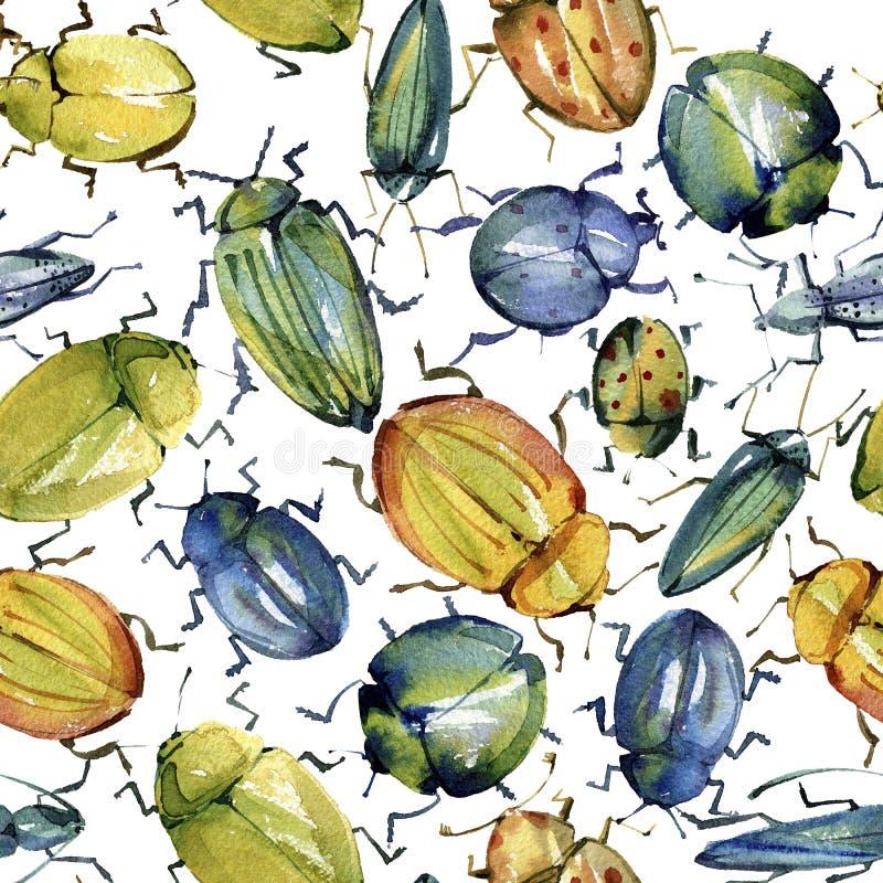 Kurade den sömlösa modellen för vattenfärgen av ljusa skalbaggar vektor illustrationer