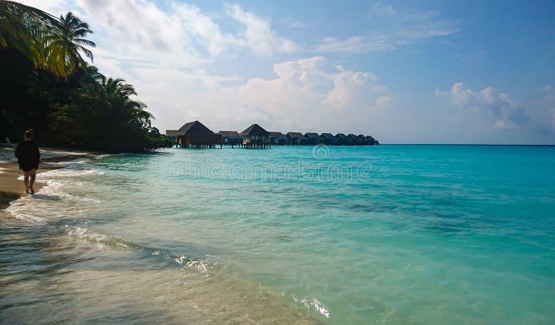 Kuramathi, playa arenosa blanca de Maldivas foto de archivo libre de regalías