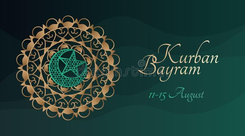 Kurban Bayram banermall med den traditionella arabiska modellen vektor illustrationer