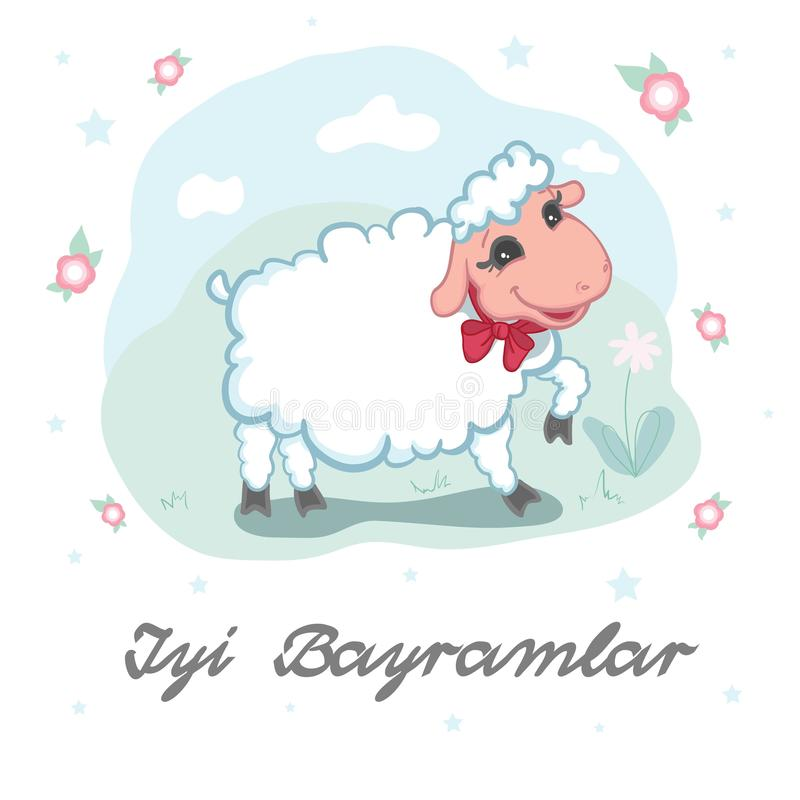 Kurban Bayram Eid Al-Adha card design with cute little woolly white sacrificial lamb wearing a red ribbon royalty free illustration