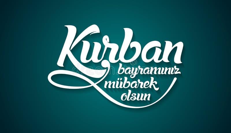 Kurban bayramininiz mubarek olsun Vertaling van Turks: Gelukkig Feest van het Offer royalty-vrije illustratie