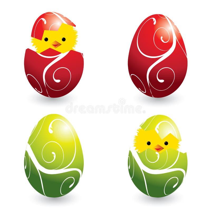 kurczątek kolorowy Easter jajek target1220_0_ royalty ilustracja