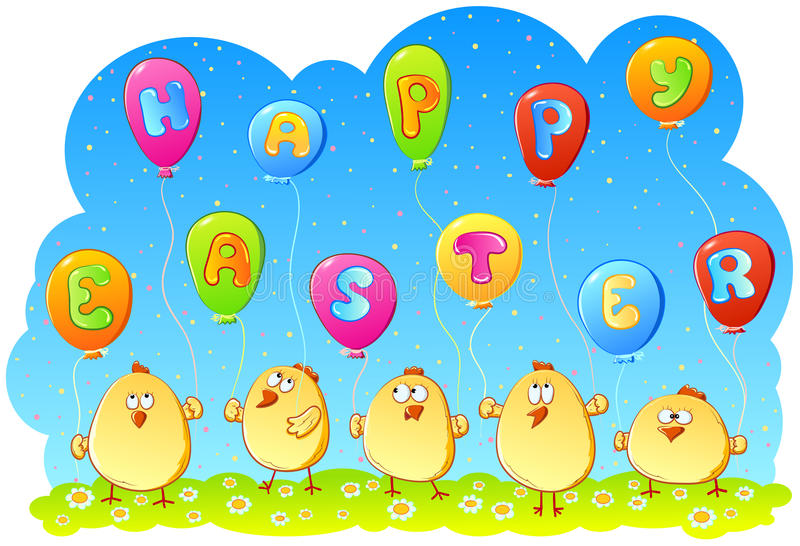 Kurczątka z balonami obraz royalty free