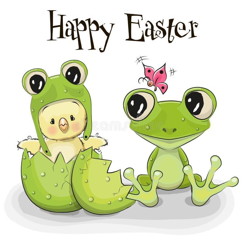 Kurczątko i żaba royalty ilustracja
