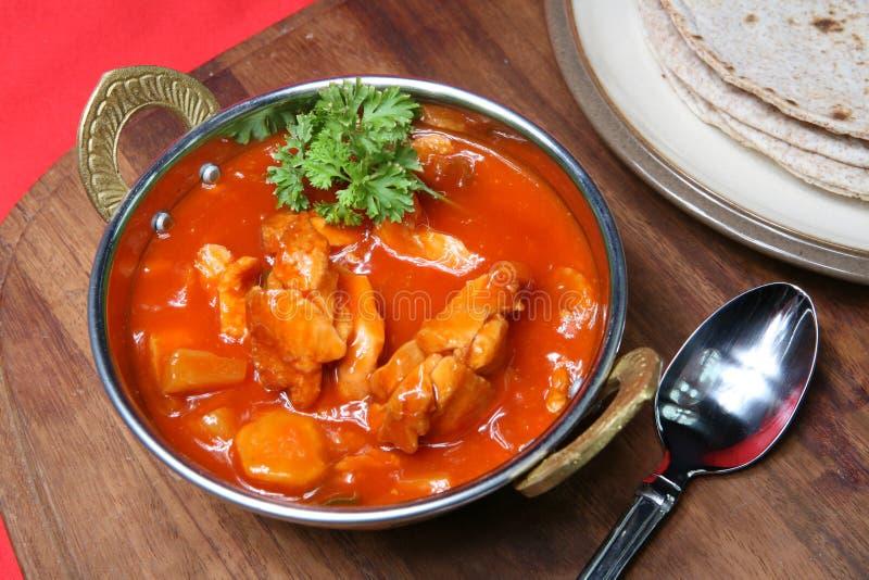 Kurczaków Chapattis Curry i obraz stock