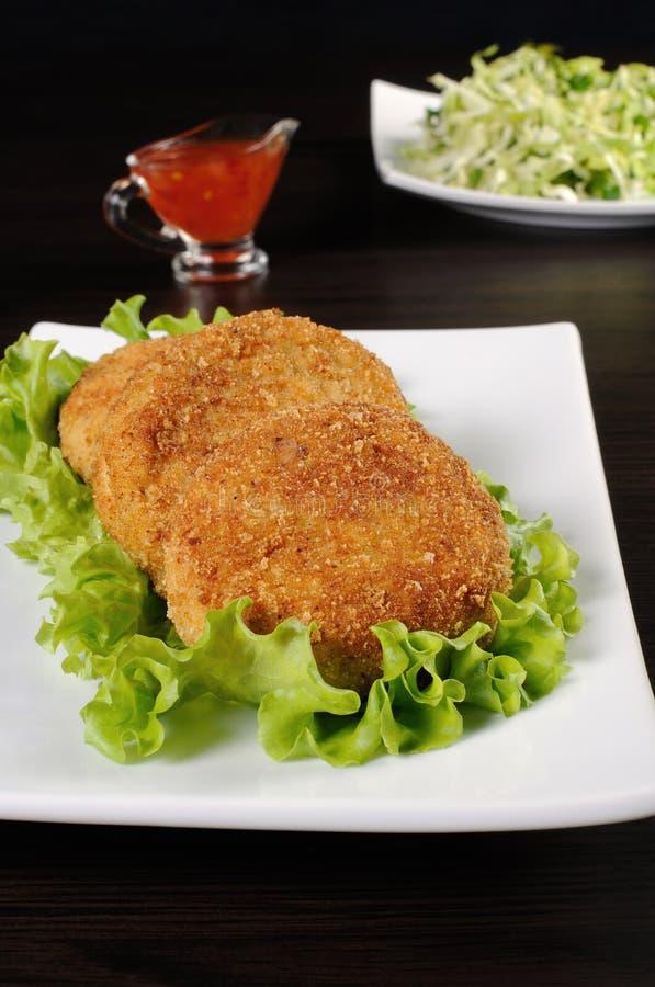 Kurczaków cutlets w breadcrumbs obraz stock