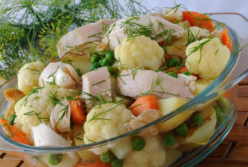 kurczaków gotowani warzywa zdjęcia stock