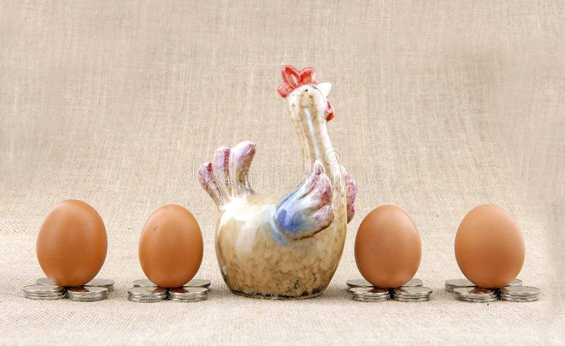 Kurczaków jajka i model zdjęcie royalty free