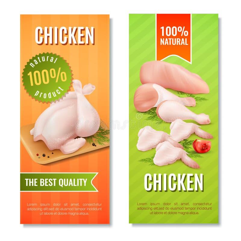 Kurczaków Mięśni Pionowo sztandary ilustracji