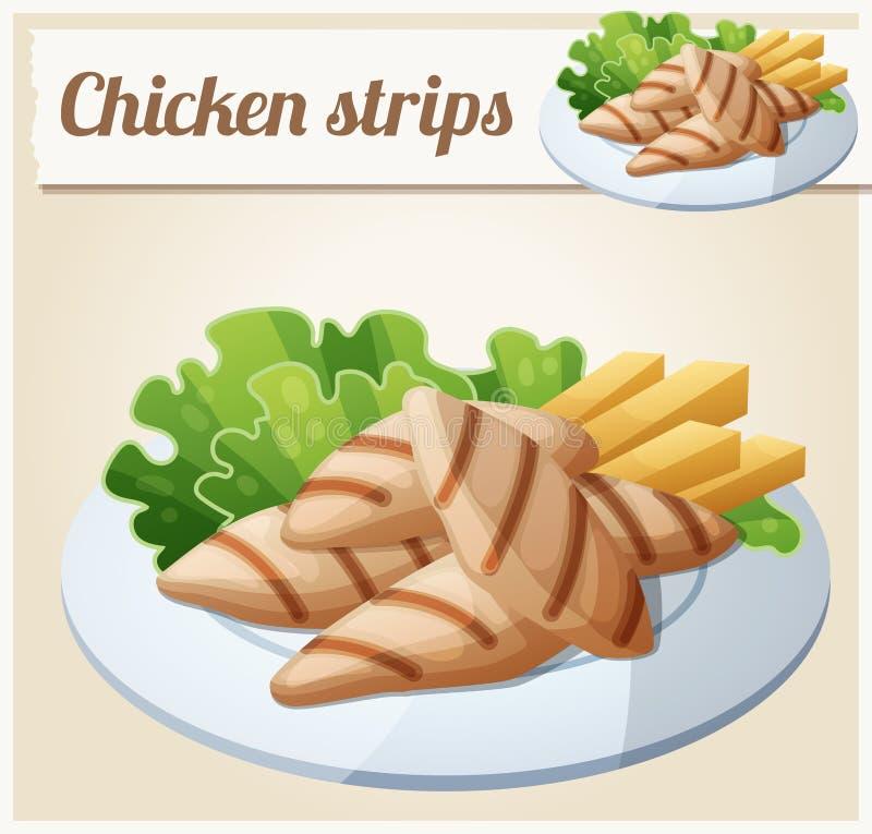 Kurczaków piec na grillu paski Szczegółowa Wektorowa ikona ilustracja wektor