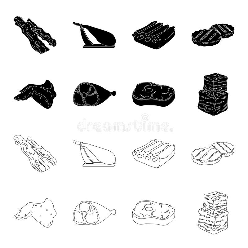 Kurczaków skrzydła, baleron, surowy stek, wołowina sześciany Mięso ustalone inkasowe ikony w czerni, konturu symbolu stylowy wekt ilustracja wektor