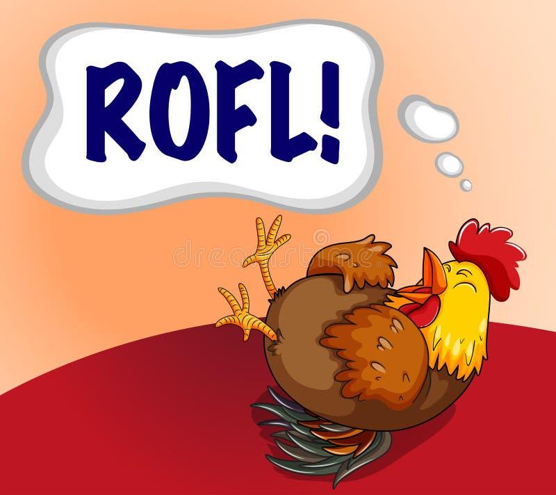 Kurczak śmia się z wyrażeniowym słowem royalty ilustracja