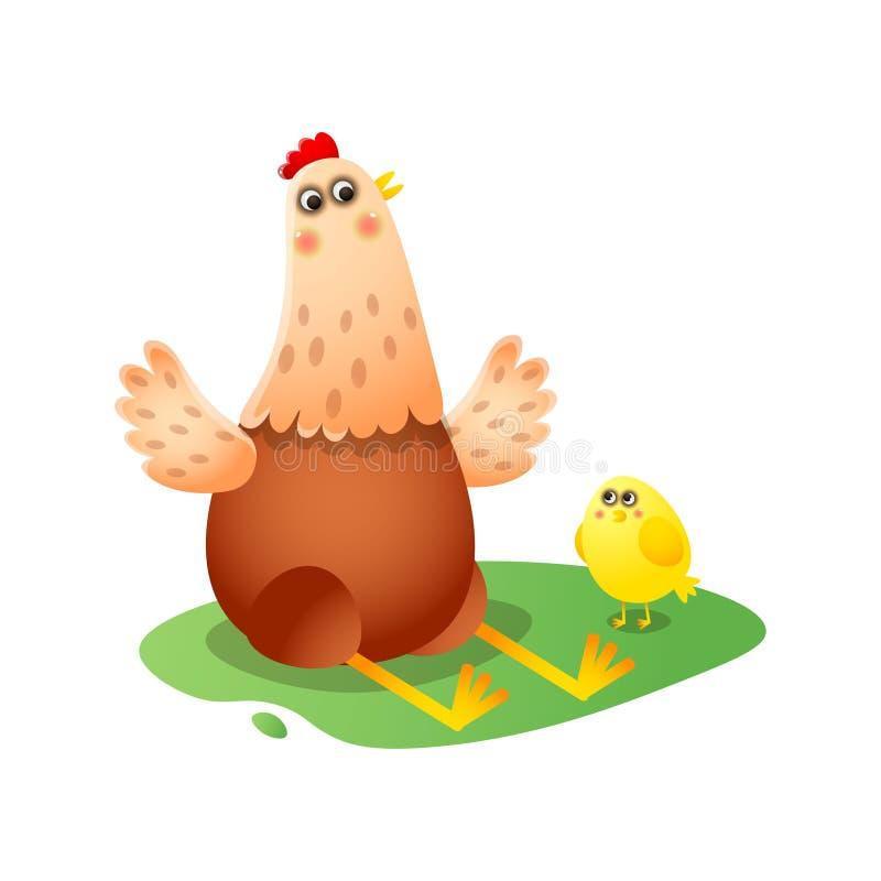 Kurczak bawić się, mówjący bajkę, pokazuje coś mały żółty przylegać ilustracja wektor