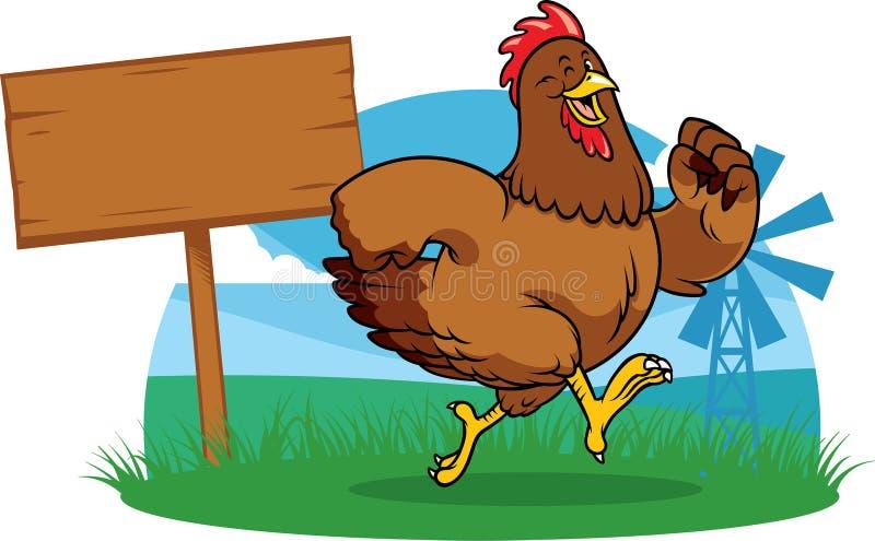 Kurczak biega gospodarstwo rolne z kreskówka stylem royalty ilustracja