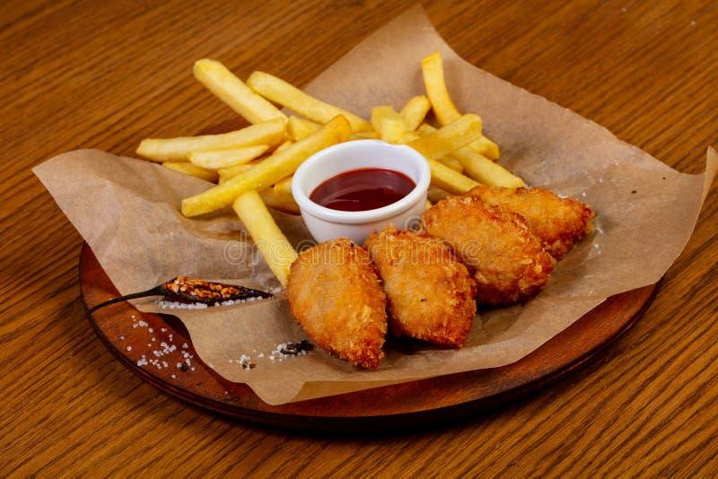 kurczak breaded bryłki zdjęcie stock