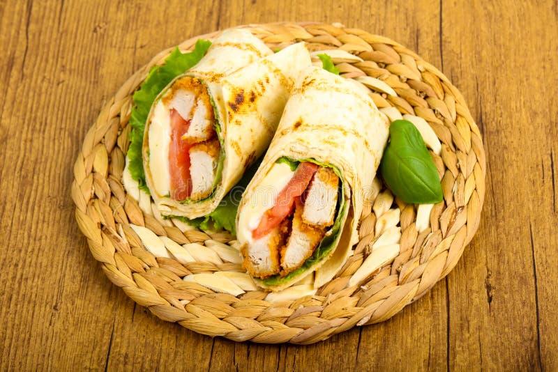 Kurczak chlebowa rolka obraz stock