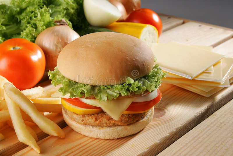 kurczak hamburgera obrazy royalty free
