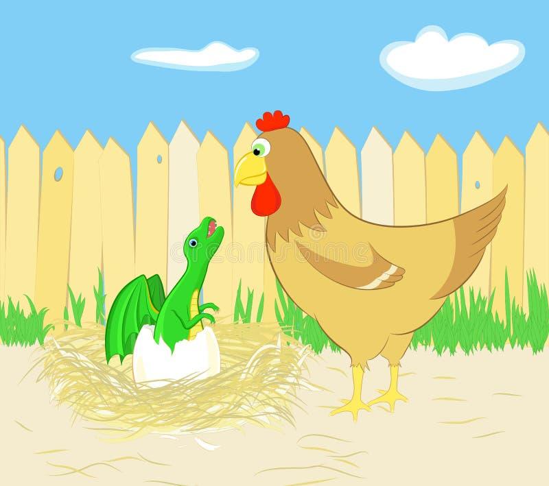 Kurczak i smok royalty ilustracja