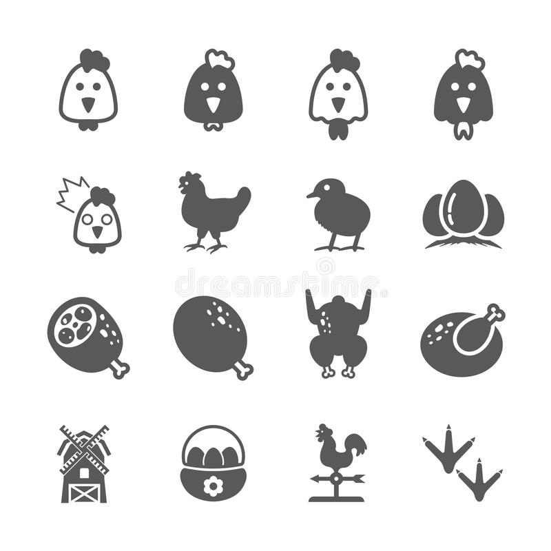 Kurczak ikony set ilustracja wektor
