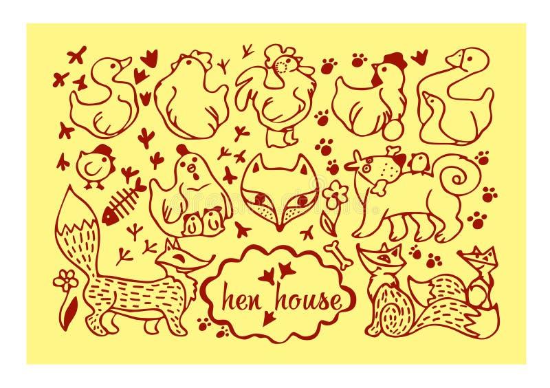kurczak, jajko, kogut, kurczątko, Fox, pies, odcisk stopy, gąska, kaczka, kwiat, stylizowani zwierzęta royalty ilustracja