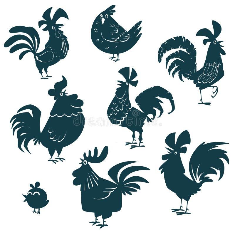 Kurczak, karmazynka, koguty ustawiający Drobiowe wektorowe inkasowe sylwetki ilustracji