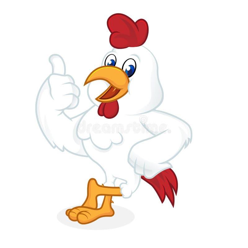 Kurczak kreskówka opiera kciuk up i daje ilustracji