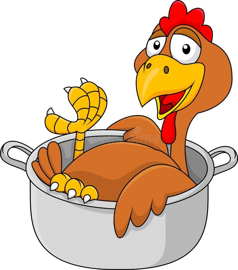 Kurczak kreskówka w rondlu royalty ilustracja