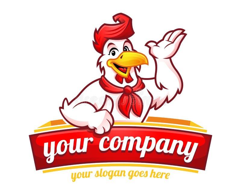 Kurczak maskotka lub kurczaka charakter, stosowny dla restauracyjnego autobusu ilustracji