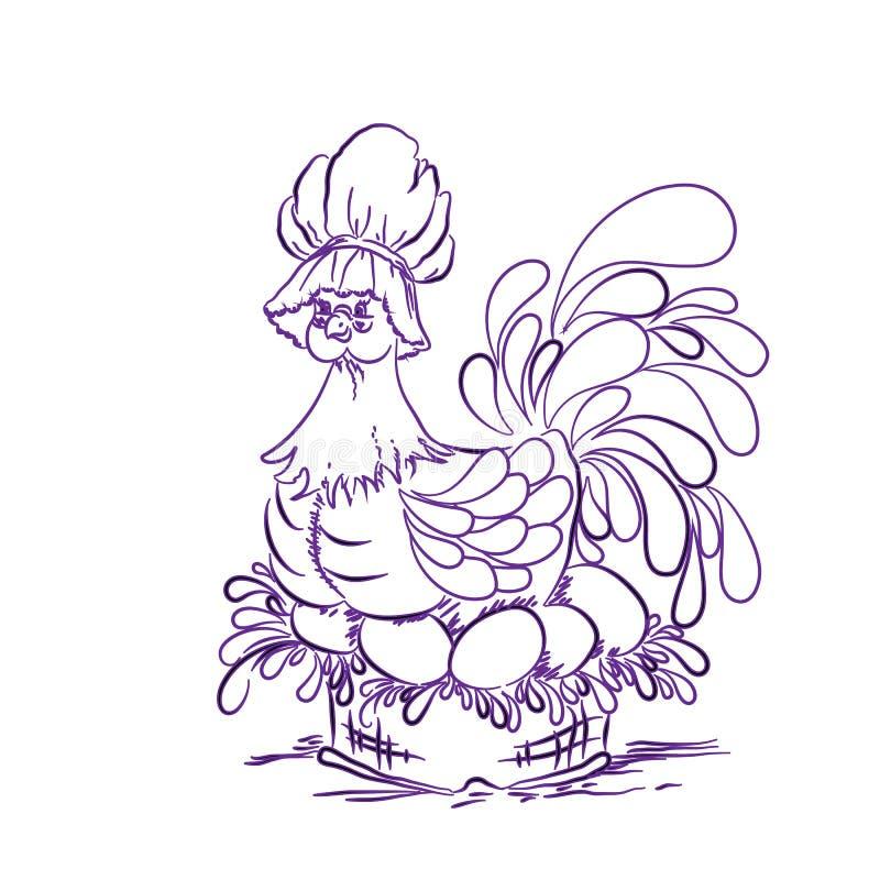 Kurczak na jajkach purpurowych wielkanoc szczęśliwy obraz royalty free