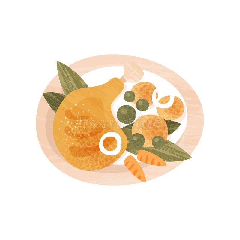 Kurczak noga, grule, zieleni grochy i marchewka w talerzu, Posiłek dla gościa restauracji Karmowy temat Płaska wektorowa ikona z  ilustracja wektor
